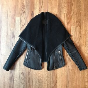 BLANK NYC faux leather and sherpa moto jacket